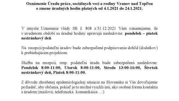 Oznámenie ÚPSVR Vranov nad Topľou